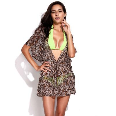 Hnedá transparentná tunika na plavky s leopardím vzorom RELLECIGA Animal | OUTLET