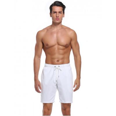 Biele pánske polyesterové plavky bez potlače RELLECIGA