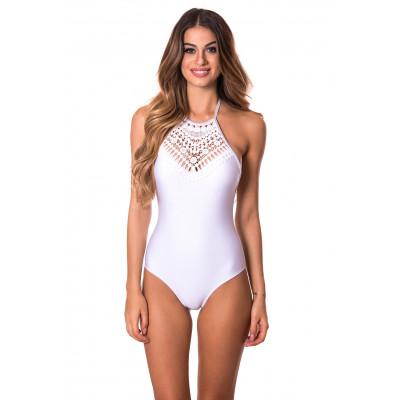 Biele jednodielne plavky s háčkovaným výstrihom RELLECIGA Crochet Lace
