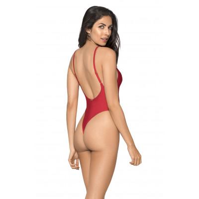 Červené jednodielne plavky s tanga zadným dielom RELLECIGA Baywatch