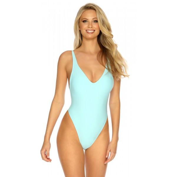 Pastelovo modré jednodielne plavky s tanga strihom RELLECIGA Pastels