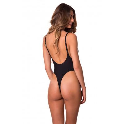 Čierne jednodielne plavky s tanga zadným dielom RELLECIGA Trends