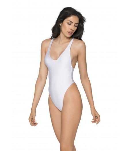 Biele jednodielne plavky s tanga zadným dielom RELLECIGA Baywatch