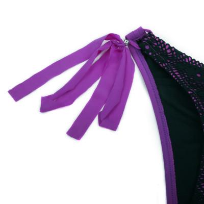 Fialovo-čierne plavky s luxusnou sieťovinou RELLECIGA   Spodný diel   OUTLET
