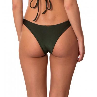 Olivovo-zelené brazilkové plavkové nohavičky bez riasenia RELLECIGA