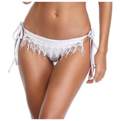 Biele háčkované plavky so šnurovaním RELLECIGA Crochet |Spodný diel