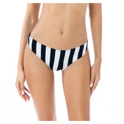 Čierno-biele pásikavé dvojdielne plavky s korzetovým viazaním RELLECIGA Active | Spodný diel