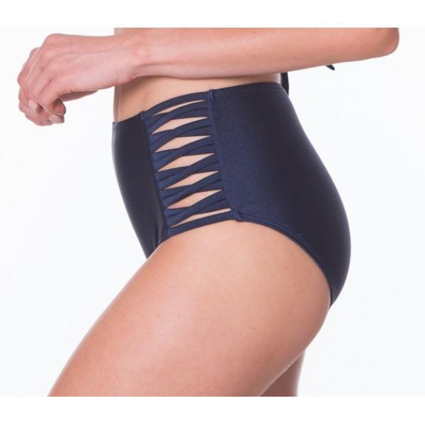 Tmavomodré high-waist plavky s prekrížením RELLECIGA